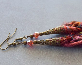 Braided Sari Silk Earrings, Shoulder Duster Earrings, Silk Jewelry