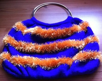 Large Hand Knitted Bag, Purple And Gold 12 X 18 Inches Approx bold bright large bag uk seller