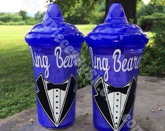 Ring Bearer Gift - Personalized Sippy Cup / Wedding Party Gift / Bride Groom Bridesmaid Flower Girl Ring Bearer Maid of Honor