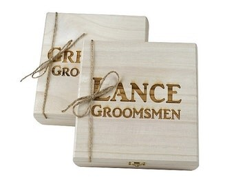 Groomsmen Gift - 6 Rustic Cigar Boxes With Laser Engraved Names-FREE Shipping- Personalized & Stained - FREE SHIPPING - Felt Lined Bottom