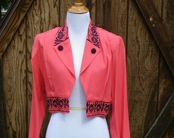 Vintage 1980s Coral Cropped Blazer, Small
