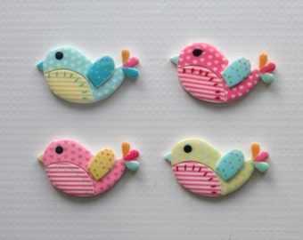Cute Chubby Birdie Pendants-Flat Backs-Cabochons-Set of 4