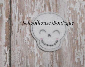 Smiling Skull felties, feltie, Thanksgiving, Halloween, Fall Harvest, Machine embroidered,felt applique,felt embellishment