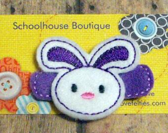 Purple Bunny felt Hair Clips, Easter Basket Filler, Felties, Felt Hair Clips, feltie hair clip, Felt Hair Clippie, Hair Accessories