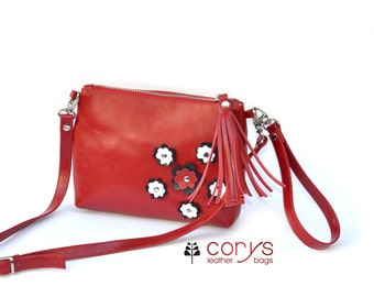 SMALL RED LEATHER Purse, Red Shoulder Bag, Leather Purse With Tassel, Leather Bag with tassel
