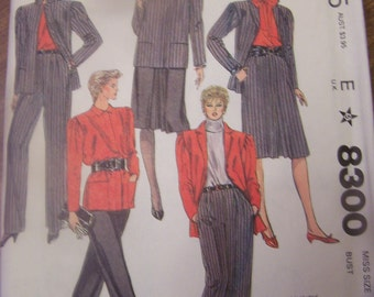 McCalls 8300  Size 12, Misses jacket, skirt and pants, UNCUT sewing pattern, craft, supplies