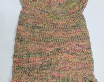 Infants onsie, Romper, eco friendly handspun yarn, merino, hand knit, vintage buttons, 3-6mo, wool soaker