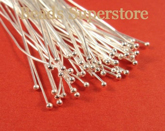 SALE 2 Inch (50 mm) Silver-Plated Brass Ball End Head Pin - Nickel Free and Lead Free - 100 pcs (BP2S)