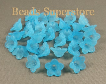 13 mm x 7 mm Sky Blue Lucite Flower Bead - 20 pcs