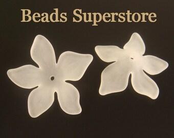 29 mm x 8 mm White Lucite Flower Bead - 8 pcs