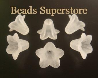 SALE 18 mm x 12 mm White Lucite Flower Bead - 10 pcs