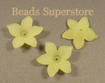 21 mm x 5 mm Light Green Lucite Flower Bead - 12 pcs