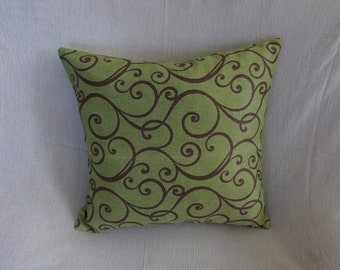 Green - Brown, vine patterned pillow case