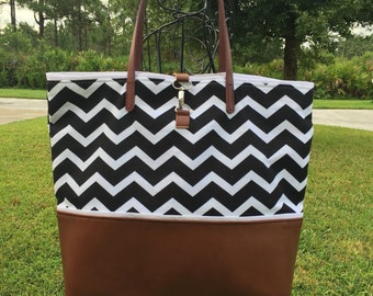 Chevron Leather Tote in Black & White