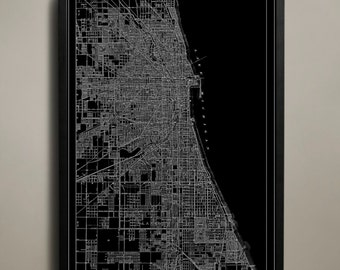 CHICAGO Map Print, Black and White Chicago Wall Decor