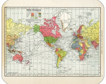 Thick mouse pad - Vintage World Maps - Free Shipping