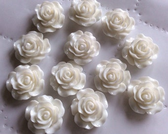 10 pcs 14 mm Off White Cabochon Flower,Off White resin flower,Off White rose flower,14 mm off White cabochon flower,flower kit,White rose