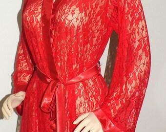 Ivory -White-Black,Red-Cobalt Blue-Champagne lace robe, Plus size robe,romantic robe, bridal robe, honeymoon robe,Honeymoon Robe