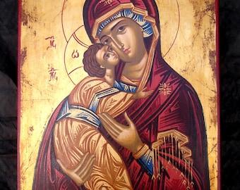 ORTHODOX ICON.religious Byzantine icons. Virgin Mary greek icon.greek folk art.made in Greece gift for christenning-baptism-wedding