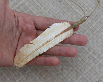 Hand Carved Mother of Pearl shell Feather Pendant, Feather Sea Shell Pendant