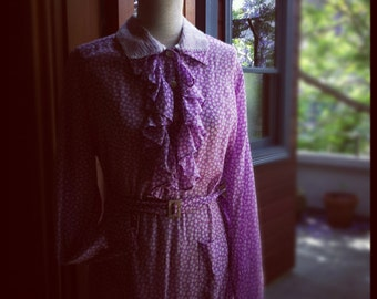 Beautiful voile cotton1930s dress with matching belt