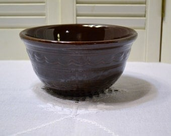 Vintage MarCrest Daisy Dot Mixing Bowl Brown Glaze Pottery PanchosPorch