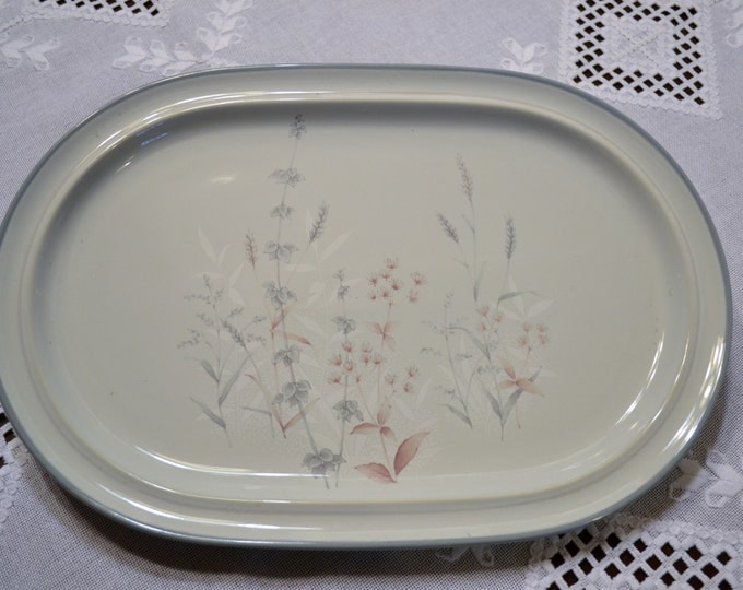 Noritake Woodstock Oval Platter Replacement Gray Taupe Floral PanchosPorch