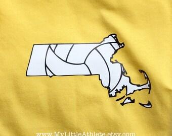 Massachusetts Volleyballl T-shirt- Vball Apparel, Sports Shirt