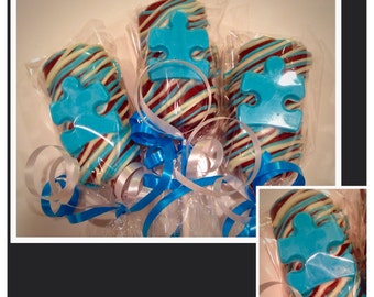 Autism Awareness chocolate covered marshmallows-Personalized Chocolate drenched marshmallows with auutism puzzle piece
