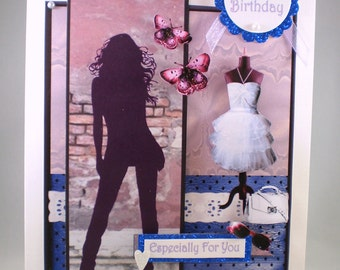 Handmade 3D  Fashionable Teenager,  Birthday Card,Personalise, 18th, 21st