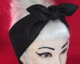 Rockabilly Pinup Headband Black Faux Leather look shiny Vintage Retro Style