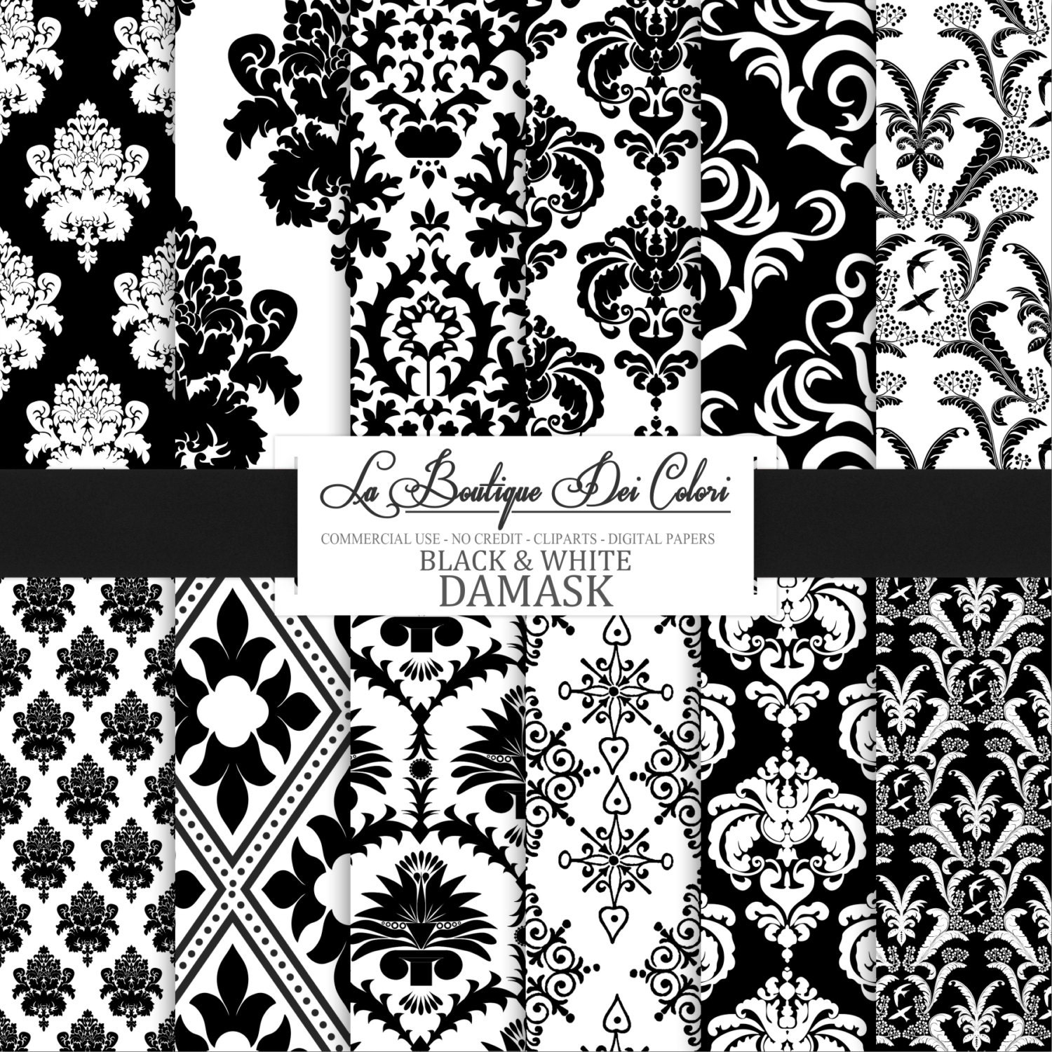 Black damask digital paper. black and white by ...