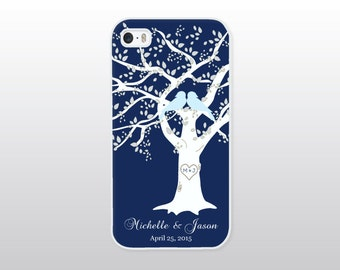 Wedding iPhone 4/4S, 5/5S, 5C or 6/6 Plus Case - Bride To Be Gift - Navy Blue Bridal Accessories - Personalized Wedding Gift