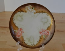 RS Germany salad dessert plate with pink and white carnation flowers, metallic gold scrolls, and brown edges