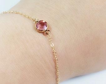 14K Gold Filled Initial Birthstone Bracelet, Gold Birthstone Bracelet, Personalizable Birthstone Bracelet, Christmas Gift