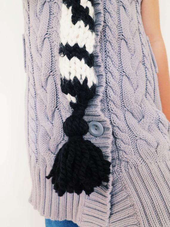 Zebra Hat Knitting Pattern : Pattern for zebra hat hood cowl scarf knit toddler child