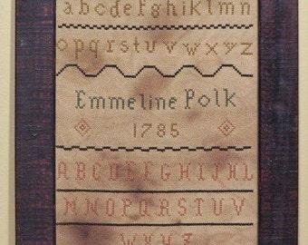 Primitive cross stitch sampler chart/pattern, schoolgirl folk-art, primitive needlework, Emmeline Polk