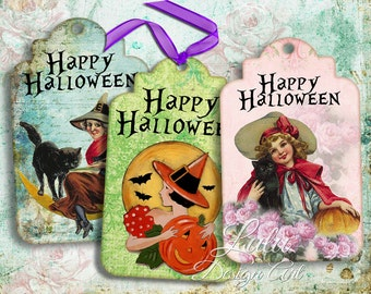 Happy Halloween Tags - Digital Collage Sheet, Halloween tags, digital tags, Halloween digital cards, printable halloween tags, gift tags