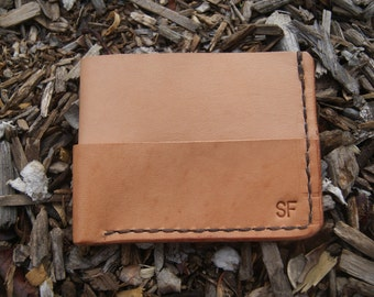 Handmade Minimalist Slim Foldover Wallet, Natural VegTan, Stitched Wallet, Style CLS2