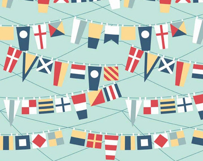 One Yard Fly Aweigh - Flags in Blue - Nautical Themed Cotton Quilt Fabric - C3873-BLUE - by Samantha Walker for Riley Blake Designs (W2522)