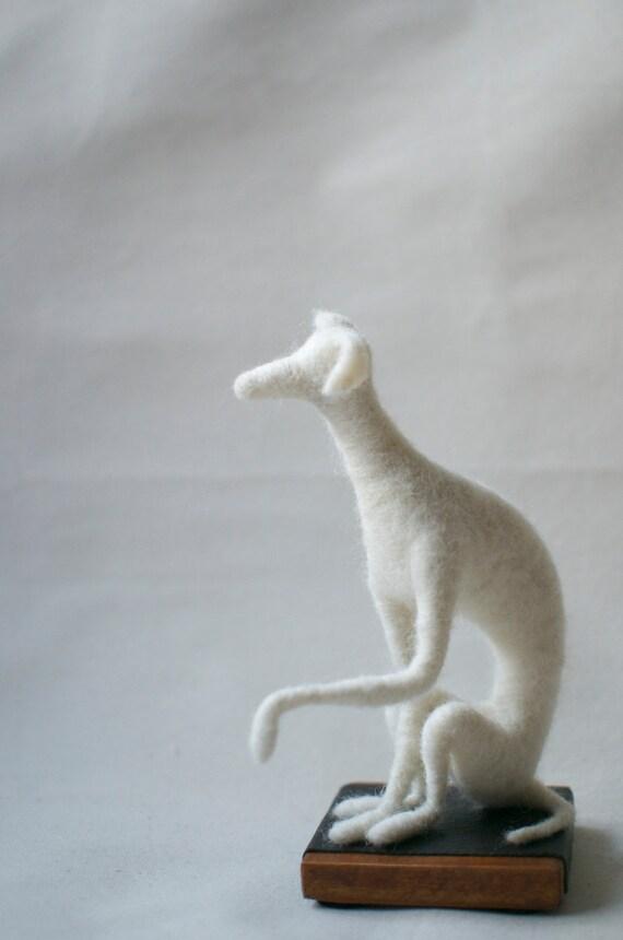 Whippet Sculpture - White needle felted whippet dog on wooden base - Greyhound housewarming decoration