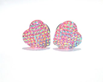 Pink Disco Heart Plugs - Available in 0g & 00g