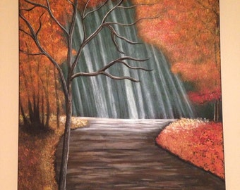 fall painting,tree painting,autumn painting, orange and brown painting,forest painting,brown, orange 18x24