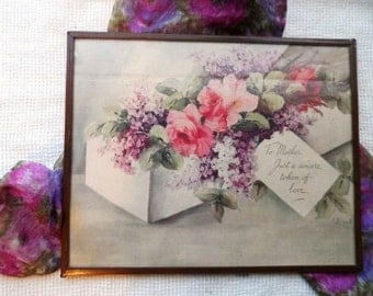 1930's To Mother Framed Picture with Pink Roses & Purple Lilacs- To Mother Just A Sincere Token of Love- Dainty Framed Print-by M. Black