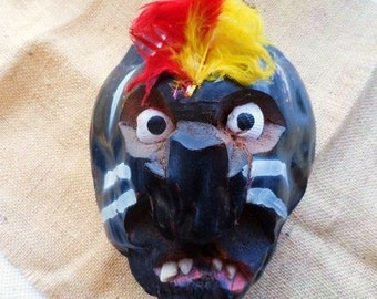 Coconut Hanging Head- Vintage Folk Art-Carved Figure  Head with Shell Eyes & Teeth-Feathers-Hand Painted-Vintage Travel -Orphaned Treasure