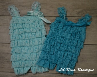 Newborn Lace Rompers W/ Matching Headband-Solid Color Rompers-Choose your Color/Size!!  Newborn-Toddler Lace Petti Rompers Lace romper