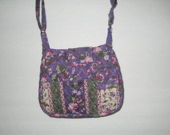 Handmade Quilted Purse, Handbag, Quilted handbag, Purple Country 29A&30A