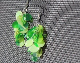 Upcycled green circle dangly earrings