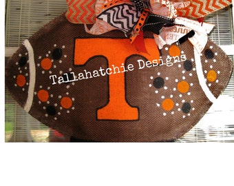 Tennessee Burlap Football Door Hanger* Football Door Hanger* Fall Door Hanger