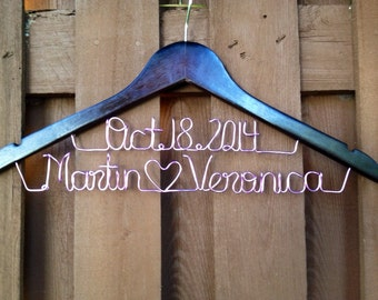 Two line hanger, 2 line personalized hanger, bridal hanger, hanger with date, bride hanger, fast shipping, name heart name
